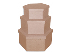 PM1053E Set de 3 cajas papel mache hexagonales 17 19 y 23cm Innspiro