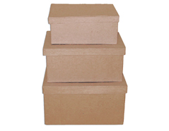 PM1053F Set de 3 cajas papel mache rectangulares 20 23 y 25cm Innspiro