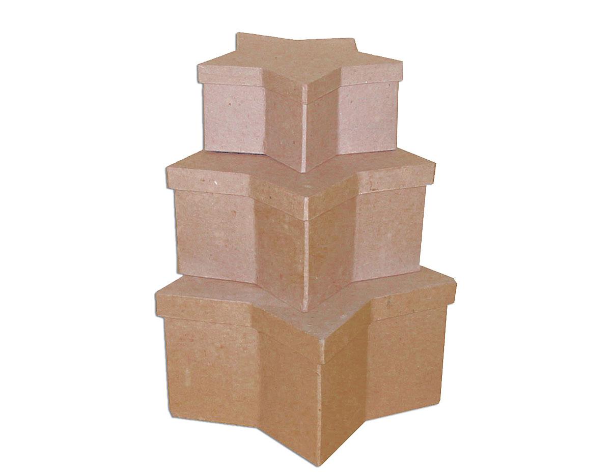 PM1053G Set de 3 cajas papel mache estrellas 18 23 y 27cm Innspiro