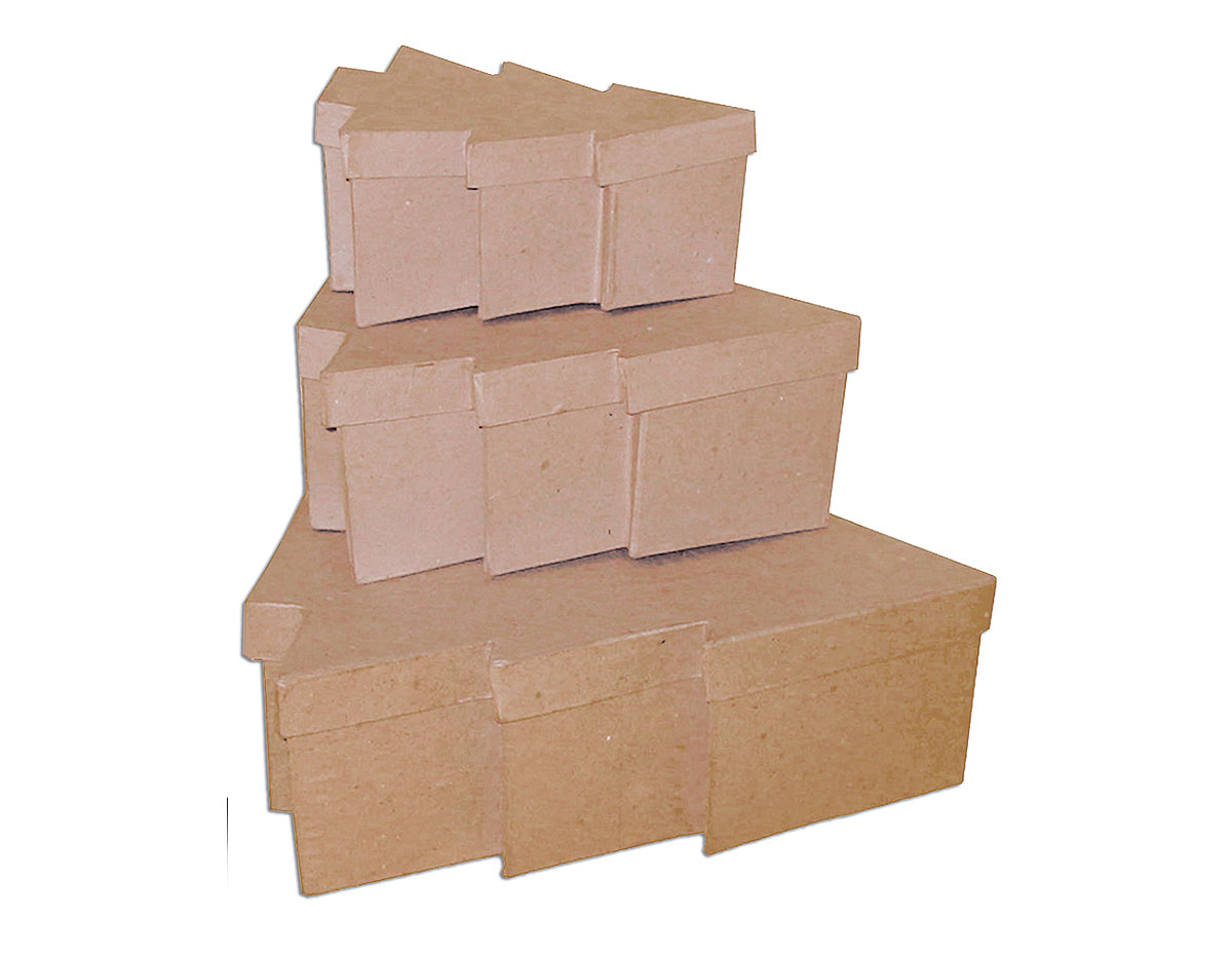 PM1053H Set de 3 cajas papel mache arboles 18 23 y 30cm Innspiro