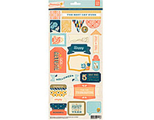 PRS-4327 PERSIMMON- 5 X 12 TITLE STICKERS Basic Grey