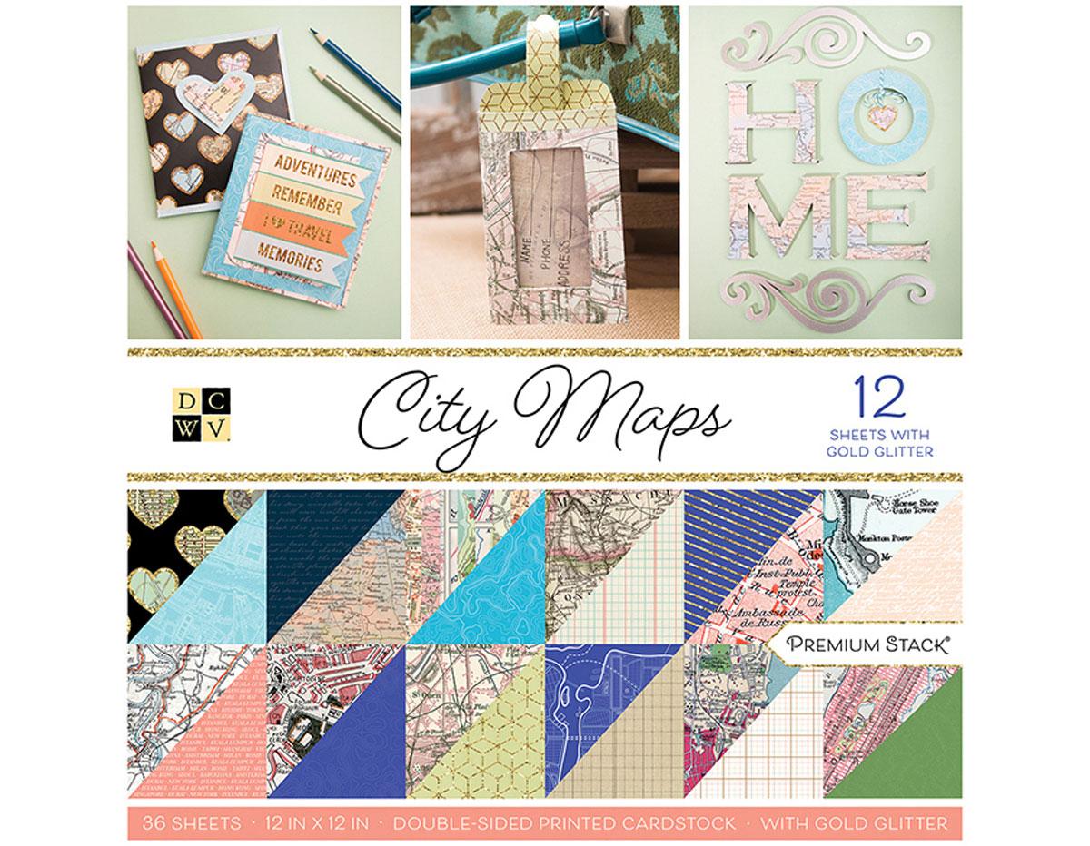 PS-002-00025 Set 36 papeles doble cara Stack City Maps DCWV