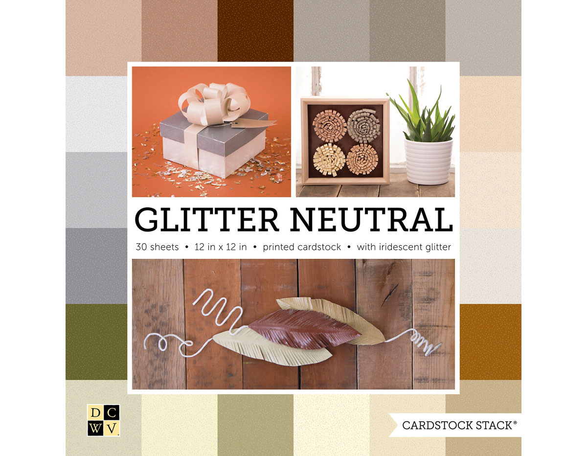 PS-016-00026 Set 30 cartulinas Cardstock Stack Glitter Neutral Stack DCWV