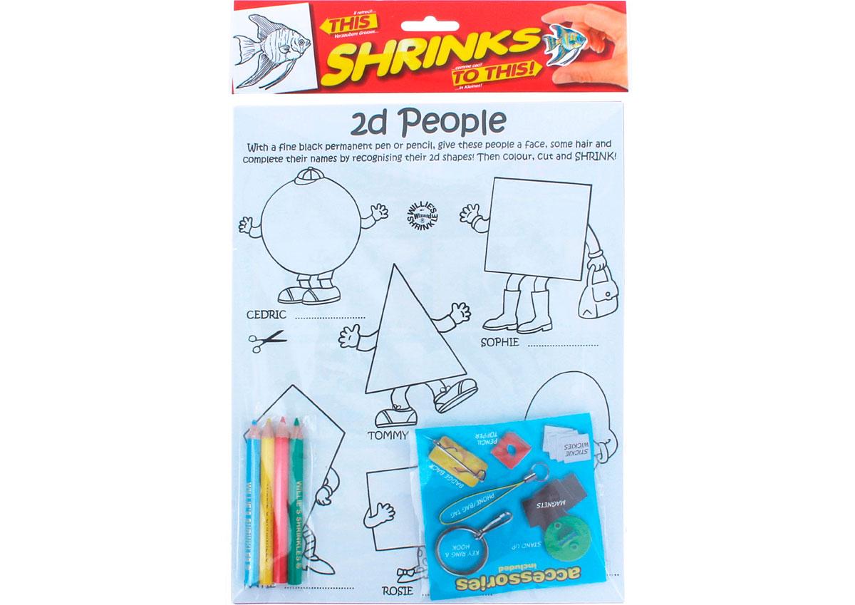 S1060-01 Kit plastico magico 2d People con 6 disenos y accesorios y accesorios Shrinkles