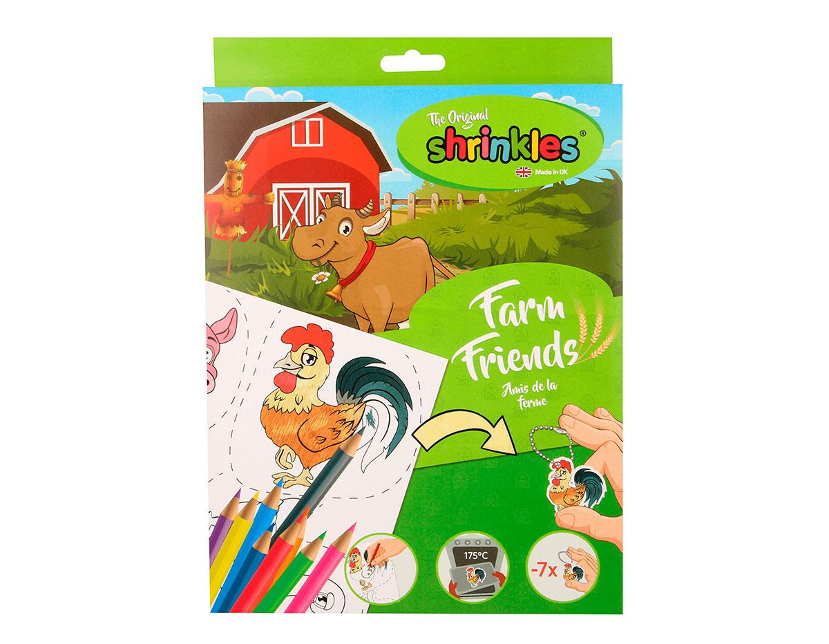 S1060-18 Kit plastico magico Farm Friends con 6 disenos y accesorios Shrinkles