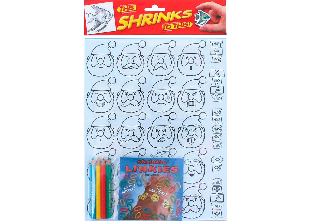 S1062-43 Kit cadenas plastico magico Santa s faces con disenos y anillas para encadenar Shrinkles