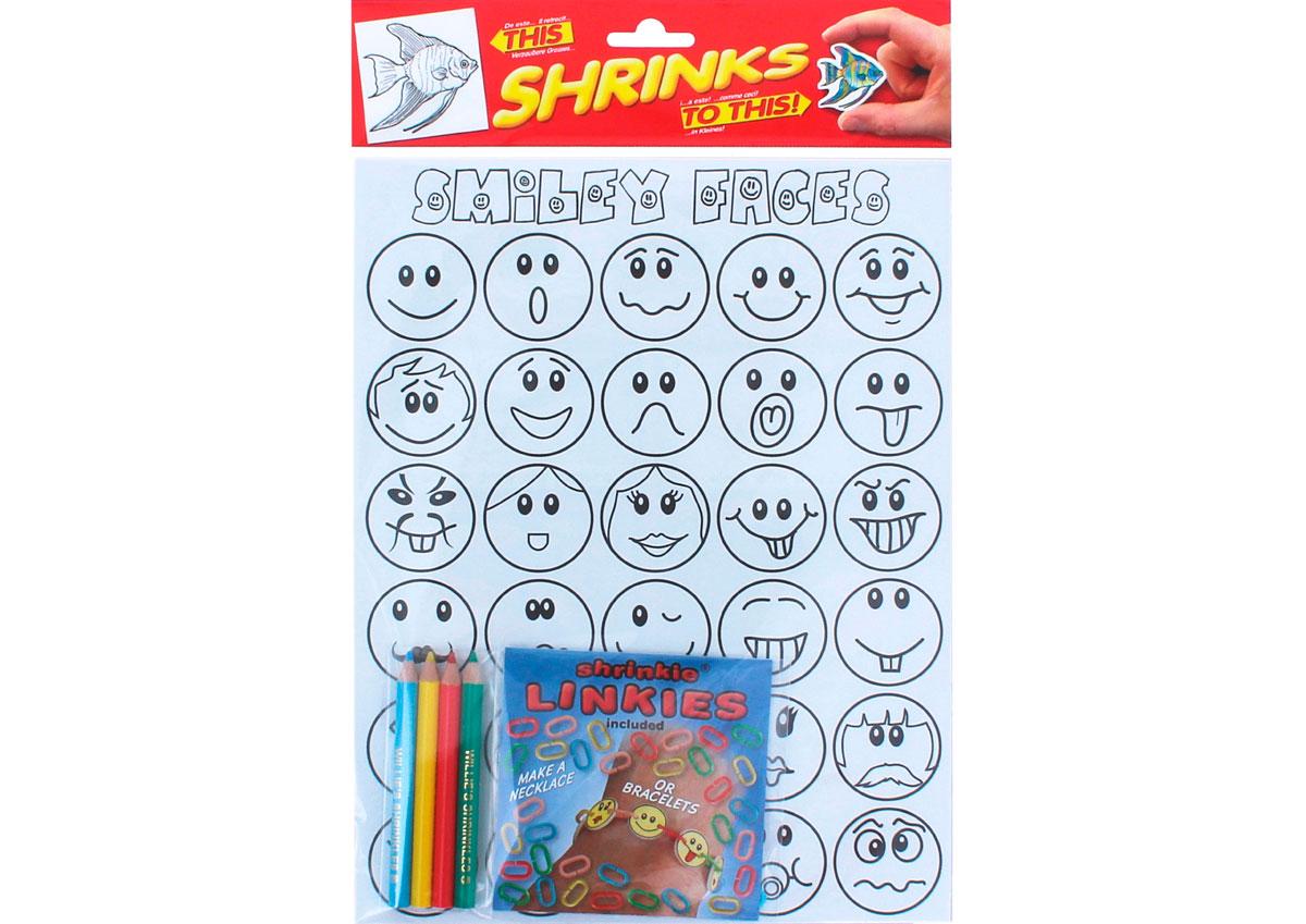 S1062-44 Kit cadenas plastico magico Smiley faces con disenos y anillas para encadenar Shrinkles