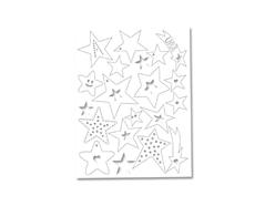 S1202 Hoja formas pre cortadas plastico magico estrellas white Shrinkles