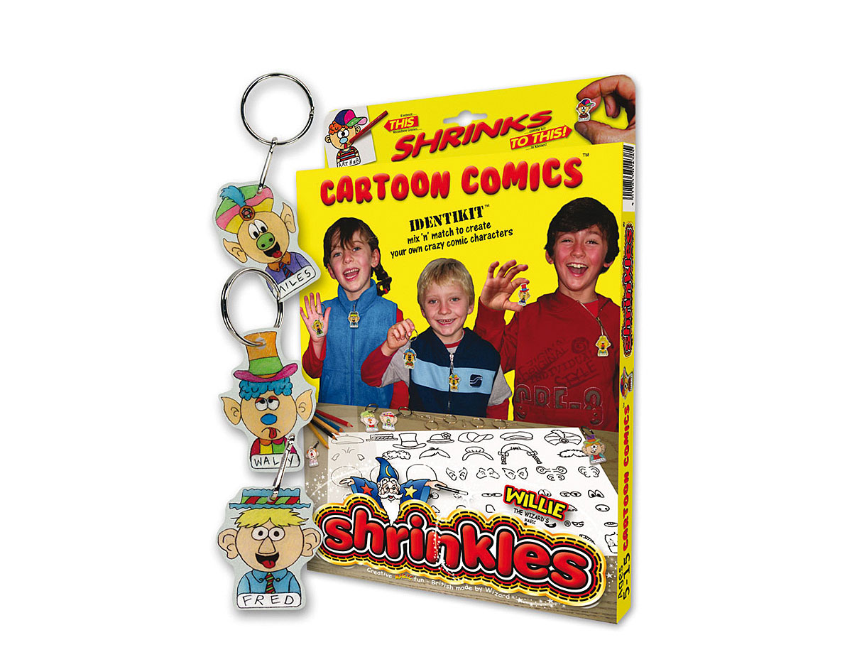 S1438 Kit plastico magico Cartoon Comics con multiples disenos y accesorios Shrinkles