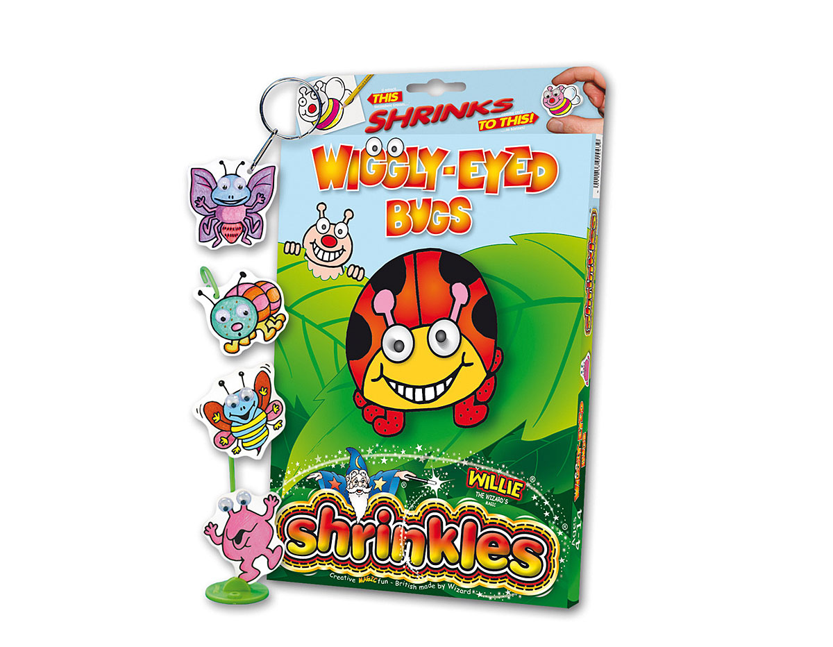 S1443 Kit plastico magico Wiggly Eyed Bugs con multiples disenos y accesorios Shrinkles