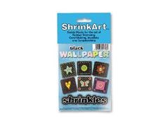 S1708 Hojas estampadas plastico magico black Shrinkles