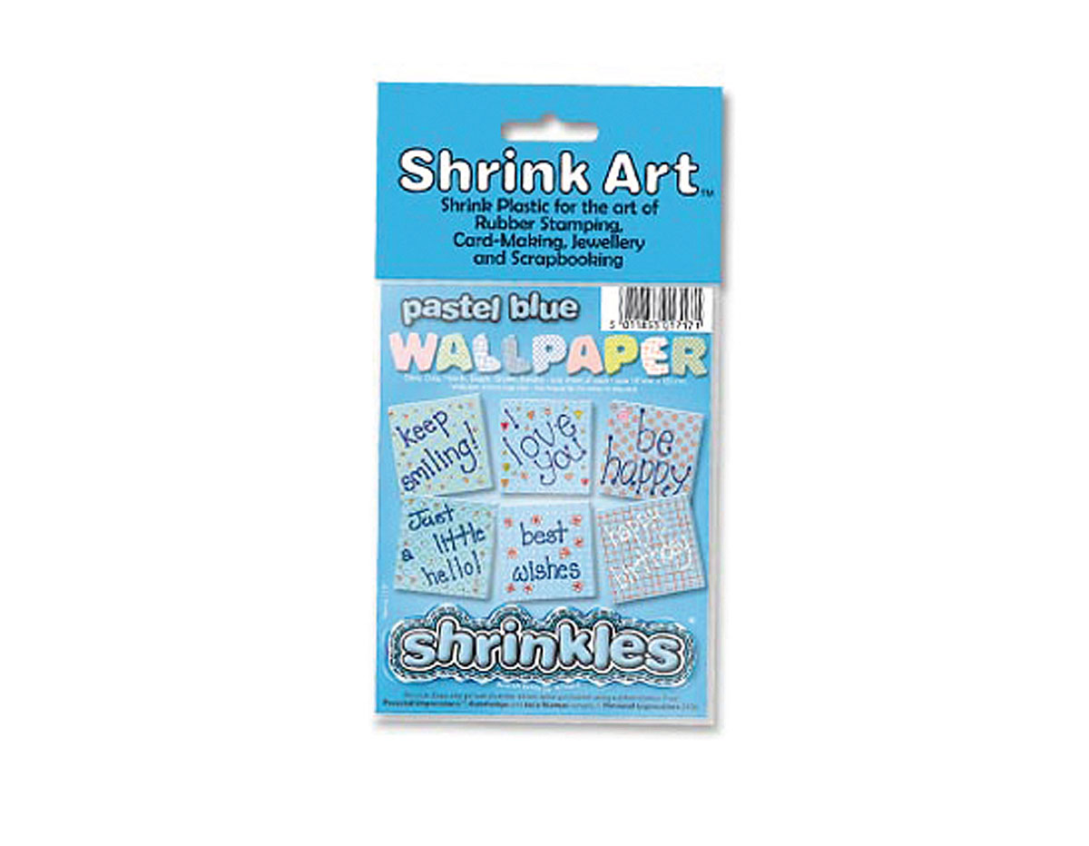 S1717 Hojas estampadas plastico magico pastel blue Shrinkles