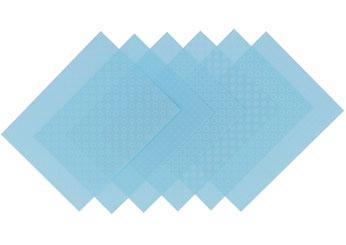 S1717 Hojas estampadas plastico magico pastel blue Shrinkles - Ítem1