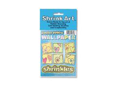 S1718 Hojas estampadas plastico magico pastel yellow Shrinkles