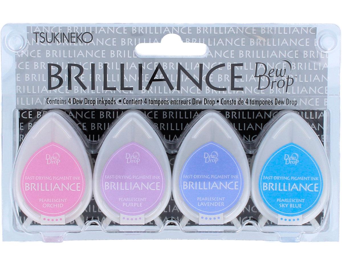 TBD-100-002 Set 4 almohadillas de tinta BRILLANCE opaca tonos joya efecto nacarado Brilliance