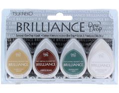 TBD-100-003 Set 4 almohadillas de tinta BRILLANCE opaca tono tierra efecto nacarado Brilliance