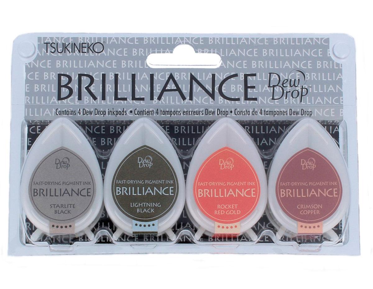 TBD-100-005 Set 4 almohadillas de tinta BRILLANCE opaca dos tonos efecto nacarado Tsukineko