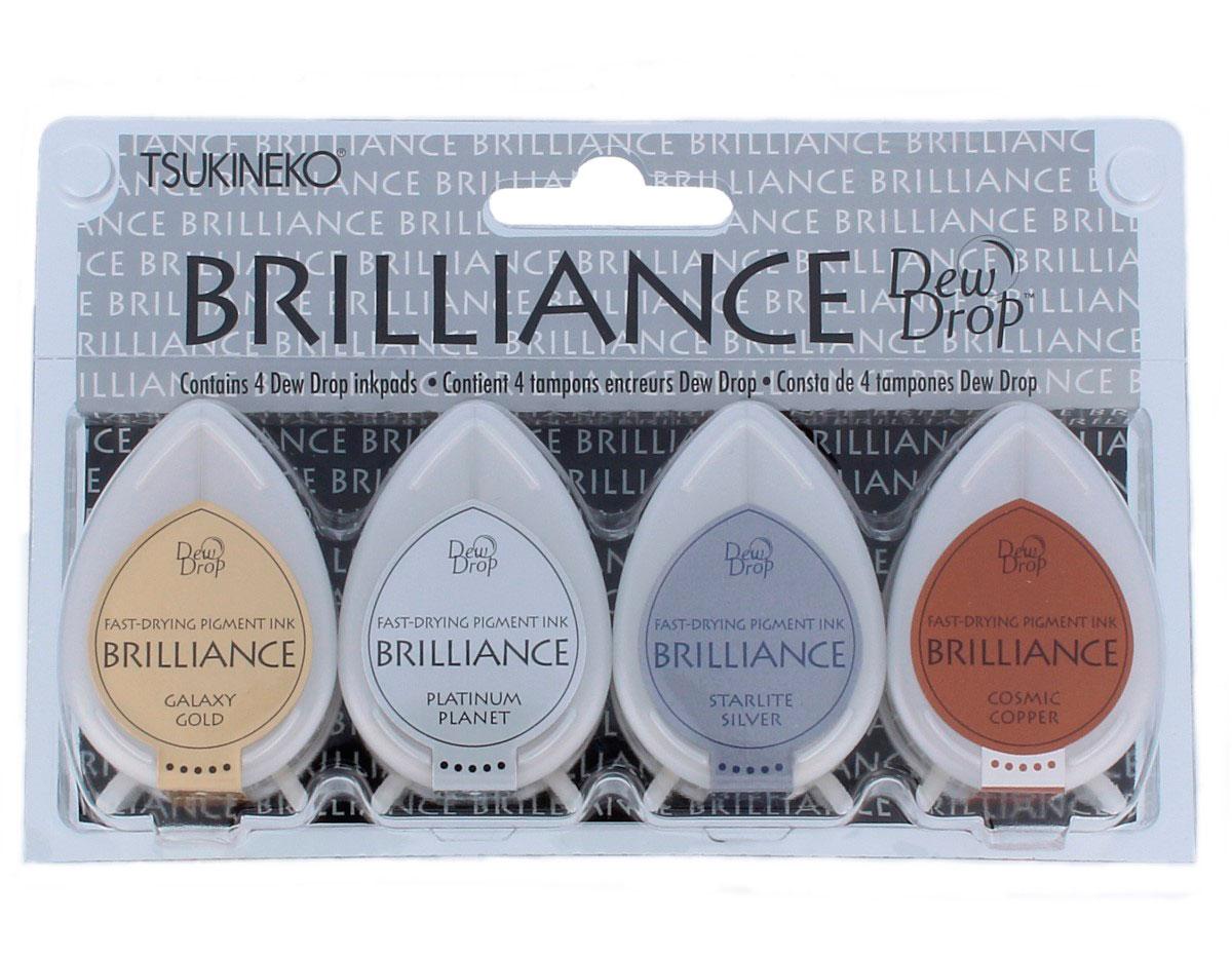 TBD-100-006 Set 4 almohadillas de tinta BRILLANCE opaca planetario efecto nacarado Tsukineko