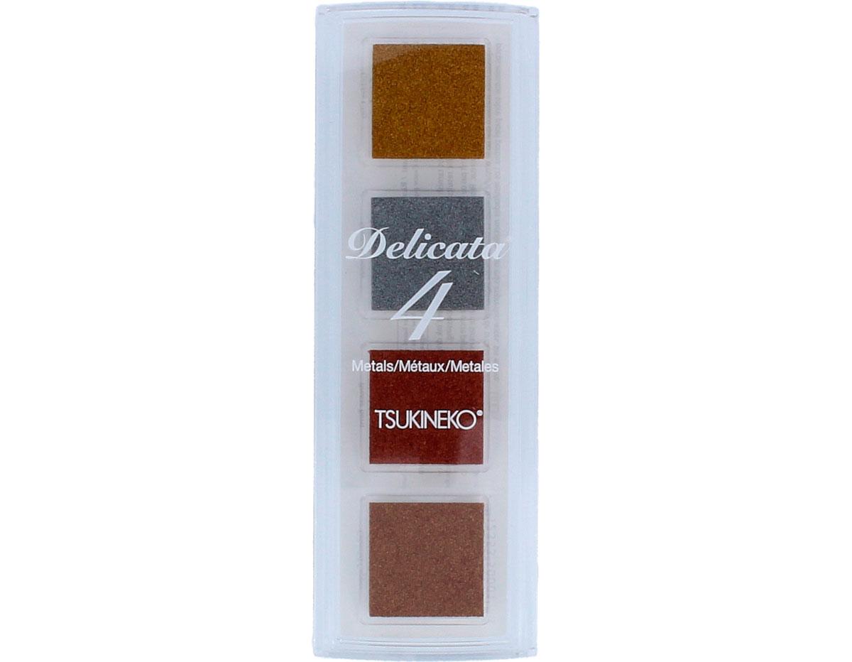 TDE-QTT-001 Set 4 almohadillas de tinta DELICATA opaca colores metalicos Delicata