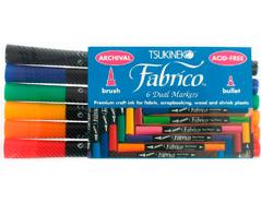 TPF-100-007 Set 6 rotuladores para textil FABRICO MARKERS doble punta pincel bala estandard Fabrico markers