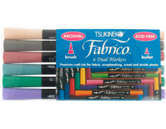 TPF-200-007 Set 6 rotuladores para textil FABRICO MARKERS doble punta pincel bala tonos pastel Fabrico markers