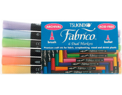 TPF-300-007 Set 6 rotuladores para textil FABRICO MARKERS doble punta pincel bala sorbete Fabrico markers