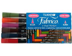 TPF-400-007 Set 6 rotuladores para textil FABRICO MARKERS doble punta pincel bala paisaje Fabrico markers