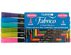 TPF-500-007 Set 6 rotuladores para textil FABRICO MARKERS doble punta pincel bala gemas Fabrico markers