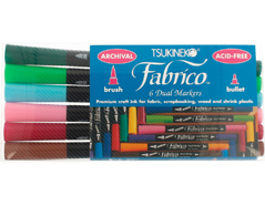 TPF-600-007 Set 6 rotuladores para textil FABRICO MARKERS doble punta pincel bala arboreto Fabrico markers