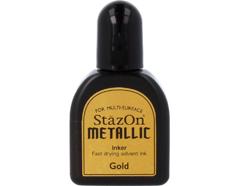 TRZ-191 Tinta STAZON METALLIC para vidrio y plastico metalica opaca color oro recarga Stazon metallic