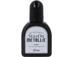 TRZ-192 Tinta STAZON METALLIC para vidrio y plastico metalica opaca color plata recarga Stazon metallic