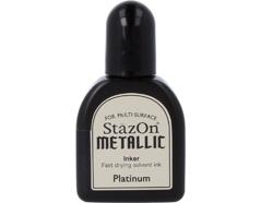 TRZ-195 Tinta STAZON METALLIC para vidrio y plastico metalica opaca color platino recarga Stazon metallic