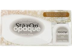 TSZ-110 Tinta STAZON OPAQUE para vidrio y plastico opaca color blanco algodon almohadilla y recarga Stazon opaque