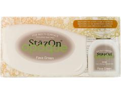 TSZ-140 Tinta STAZON OPAQUE para vidrio y plastico opaca color verde haba almohadilla y recarga Stazon opaque
