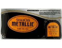 TSZ-191 Tinta STAZON METALLIC para vidrio y plastico metalica opaca color oro almohadilla y recarga Stazon metallic