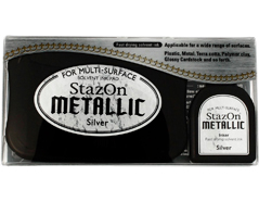 TSZ-192 Tinta STAZON METALLIC para vidrio y plastico metalica opaca color plata almohadilla y recarga Stazon metallic