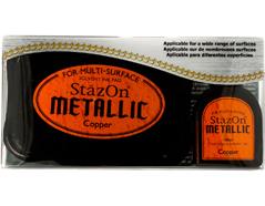 TSZ-193 Tinta STAZON METALLIC para vidrio y plastico metalica opaca color cobre almohadilla y recarga Stazon metallic