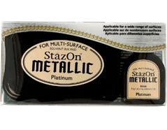 TSZ-195 Tinta STAZON METALLIC para vidrio y plastico metalica opaca color platino almohadilla y recarga Stazon metallic