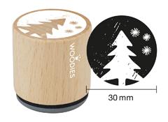 W07006 Sello de madera y caucho arbol de Navidad diam 33x30mm Woodies
