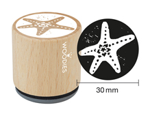 W10009 Sello de madera y caucho estrella de mar diam 33x30mm Woodies