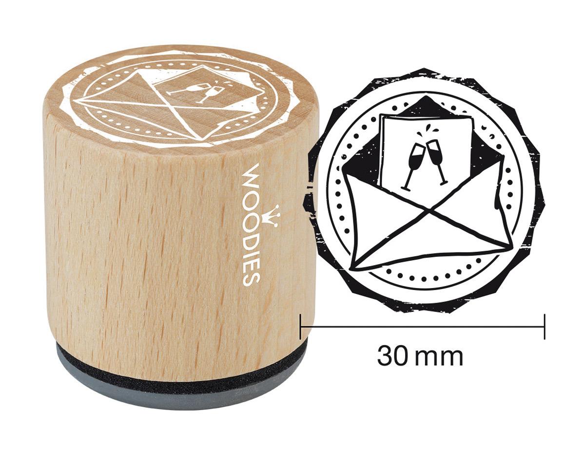 W17002 Sello de madera y caucho sobre diam 33x30mm Woodies