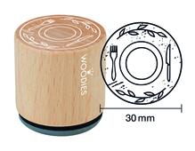 W17004 Sello de madera y caucho plato diam 33x30mm Woodies