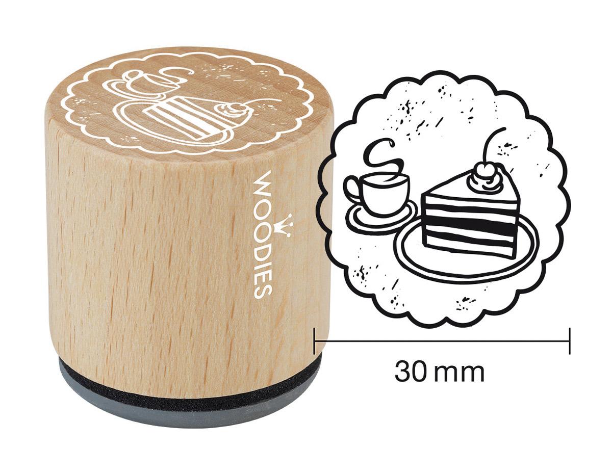 W17005 Sello de madera y caucho cafe y tarta diam 33x30mm Woodies