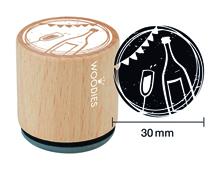 W17007 Sello de madera y caucho copa y botella de champan diam 33x30mm Woodies
