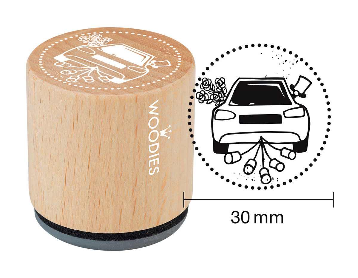 W18001 Sello de madera y caucho coche con latas diam 33x30mm Woodies