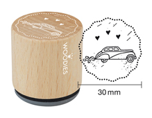 W18002 Sello de madera y caucho coche de boda diam 33x30mm Woodies