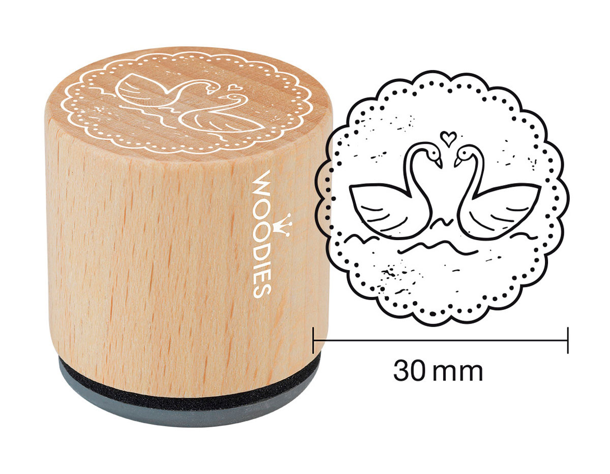 W18003 Sello de madera y caucho cisnes diam 33x30mm Woodies