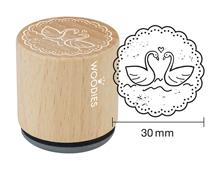 W18003 Sello de madera y caucho cisnes diam 33x30mm Woodies - Ítem
