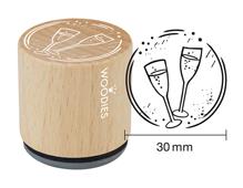 W18004 Sello de madera y caucho copas de champan diam 33x30mm Woodies