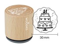 W18006 Sello de madera y caucho pastel de bodas diam 33x30mm Woodies